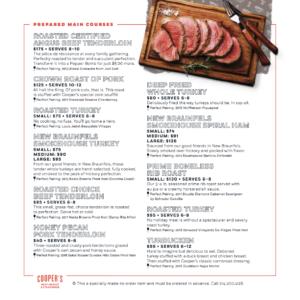 Cooper's Meat Market Menu