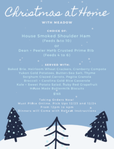 Holiday Meal To-Go Menu